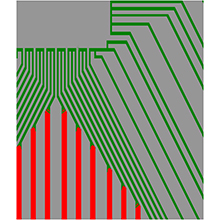 Circuit data - green represents laser processing, red represents milling